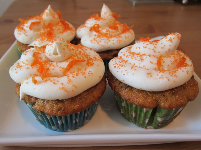 Carrot Ginger Cupcakes With Cream Cheese Frosting And Candied Carrot ...